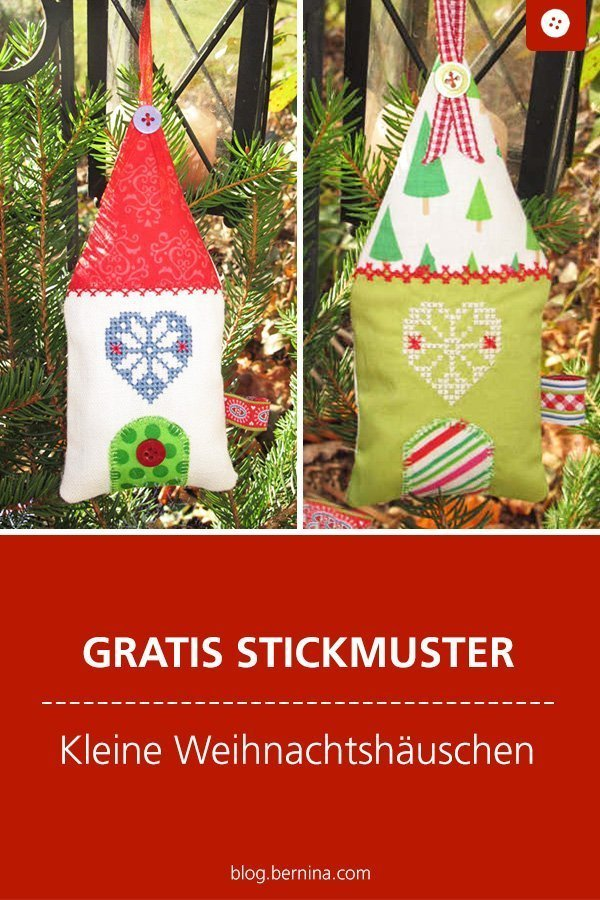 Gratis Stickdatei: Weihnachtshäuschen Freebie  #stickdatei #stickmuster #stickvorlage #weihnachten #winter #nähen #bernina #vorlage #diy #tutorial #freebie #deko