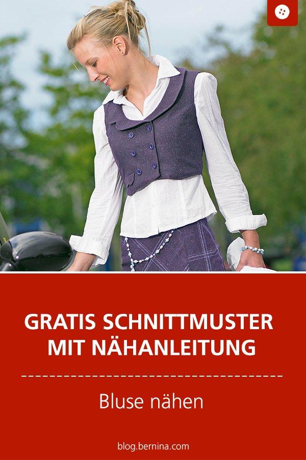 Gratis Schnittmuster mit Nähanleitung: Damen-Bluse mit Stickerei nähen