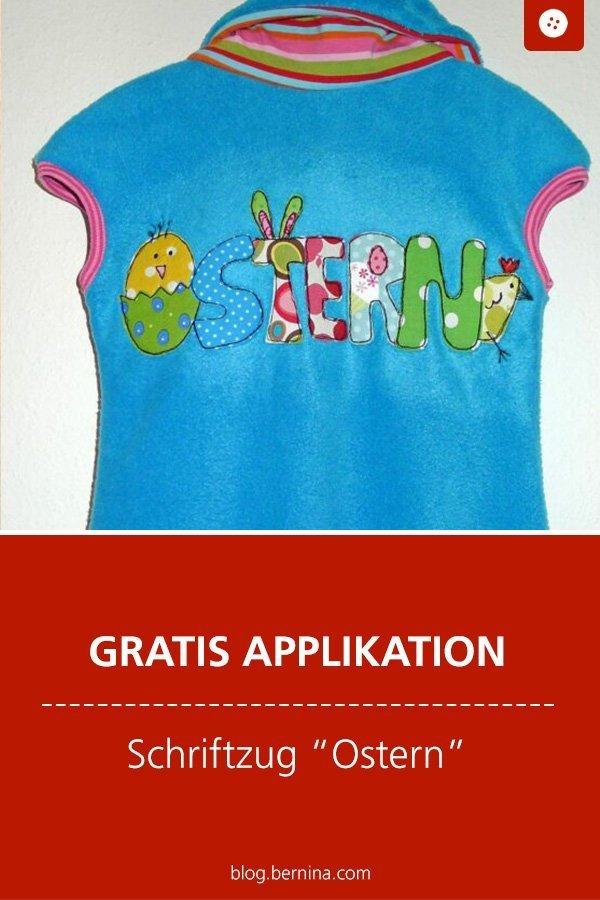 Gratis Applikation: Osterhase Ostern Freebie  #applikation #hase #ostern #kinder #applizieren #kleidungnähen #kinderkleidung #nähen #bernina #vorlage #diy #tutorial #freebie