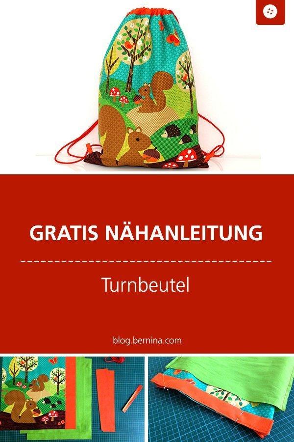 Kostenlose Nähanleitung : Turnbeutel mit Kordel #nähen #nähanleitung #nähenmachtglücklich #turnbeutel #bernina #diy #tutorial #freebie #freebook #kostenlos #nähenfürkinder