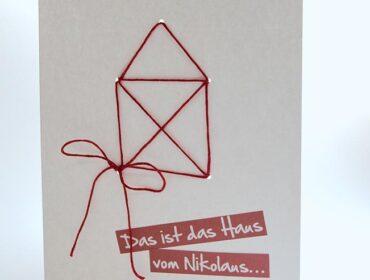 Weihnachtskarte nähen: das Haus vom Nikolaus