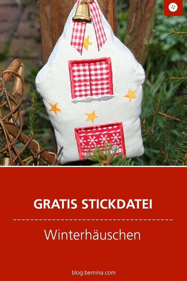 Gratis Stickdatei: Winterhaus Weihnachten Freebie  #stickdatei #stickmuster #stickvorlage #weihnachten #haus #winterhaus #nähen #bernina #vorlage #diy #tutorial #freebie