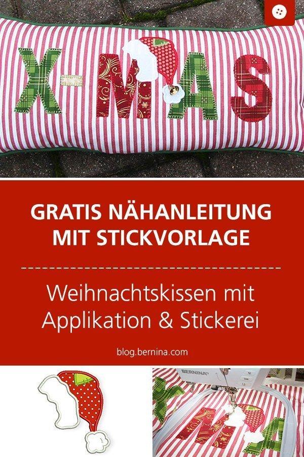Nähanleitung & Gratis Stickdatei für ein Weihnachtskissen mit Weihnachtsmütze