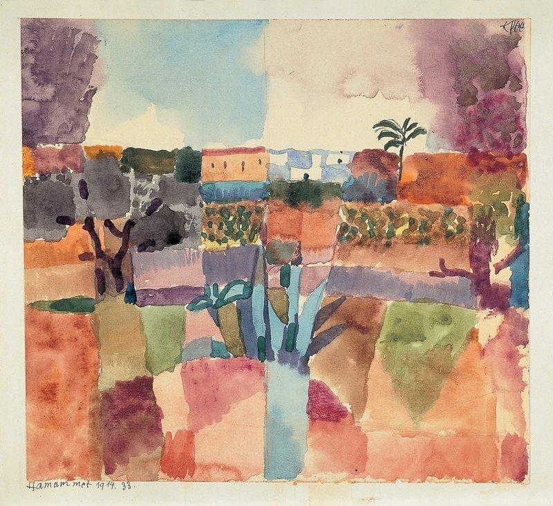 Paul Klee (1879 - 1940) Hamammet, 1914, 33 Aquarell und Bleistift auf Papier auf Karton 22 x 24 cm Privatbesitz