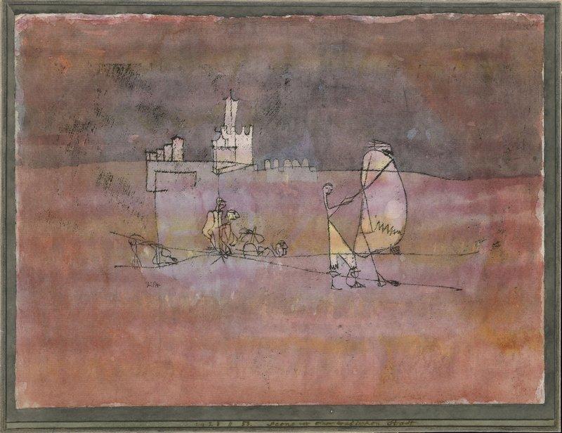 Paul Klee (1879 - 1940) Szene vor einer arabischen Stadt, 1923, 53 Ölpause und Aquarell auf Papier auf Karton 22,5 x 30,5 cm The Metropolitan Museum of Art, New York, The Berggruen Klee Collection