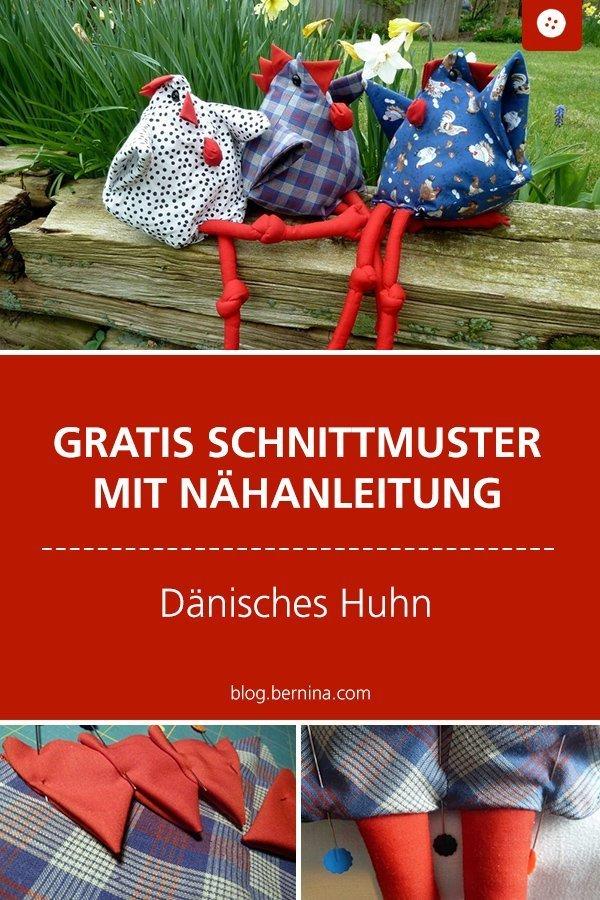 Gratis Schnittmuster: Dänisches Huhn nähen #schnittmuster #nähen #dänischeshuhn #ostern #nähenmachtglücklich #nähenzuostern #bernina #vorlage #diy #tutorial #freebie