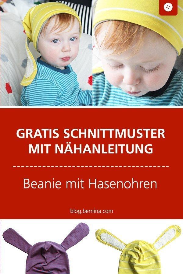 Kostenloses Schnittmuster mit Nähanleitung für eine Beaniemütze mit Schlappohren #schnittmuster #nähen #mütze #kinder #baby #beanie #hase  #ohren #bernina #nähanleitung #diy #tutorial #freebie #freebook #kostenlos