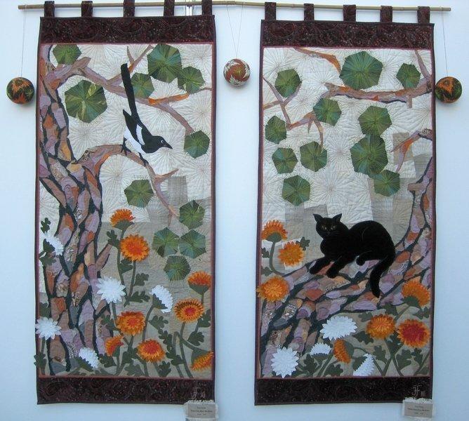 Irina Fomina (UA): Pinien beim Haus. Die Elster (li), Pinien beim Haus. Die Katze (re), jeweils 125 x 60 cm