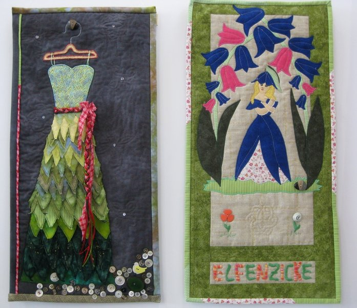 Brigitte Stötter: Mein grünes Kleid (li), Cornelia Piloth: Elfenzicke (re)