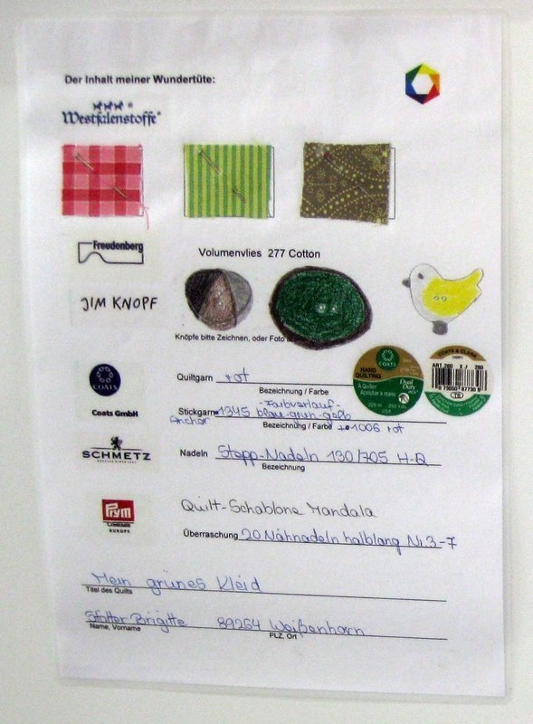 Begleitzettel zu Brigitte Stötter: Mein grünes Kleid