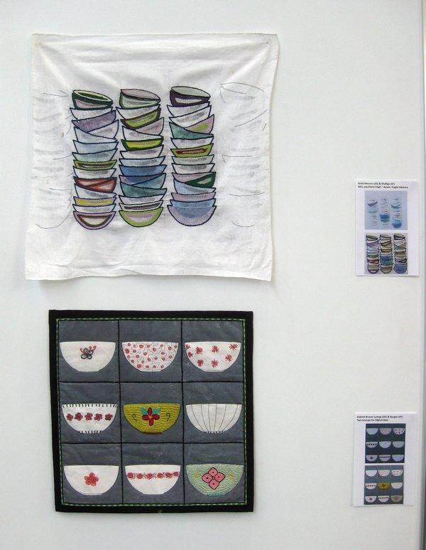 """Ausstellung """"Aus der Küche"""": Anne Moreno (ES) & Shafiga (AF): Bowls, fragile balance (oben) und  Elsbeth Nusser-Lampe (DE) & Narges (AF): Two teacups for Afghanistan (unten)"""