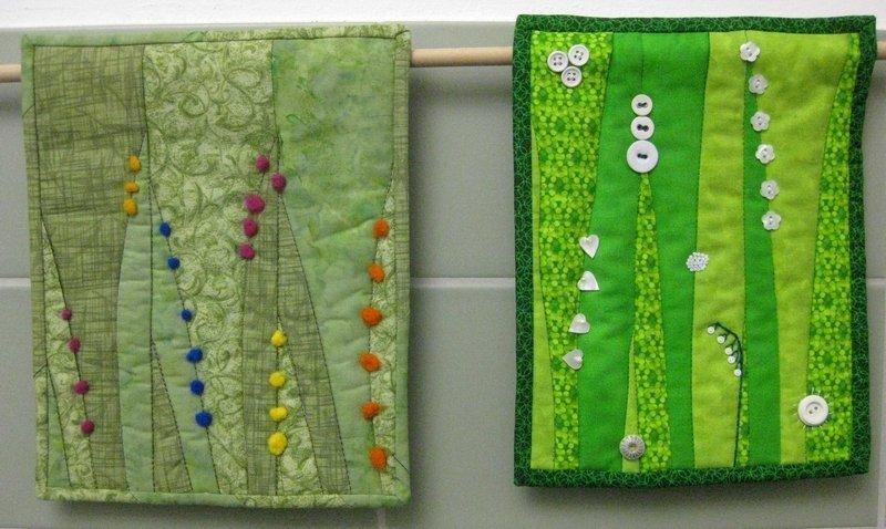 Karin Getto: Grün? Grün!, 21,5 x 25, 5 cm Monat August (li) Rosemarie Conrad: Frühling, 20,5 x 26 cm Monat August (re)