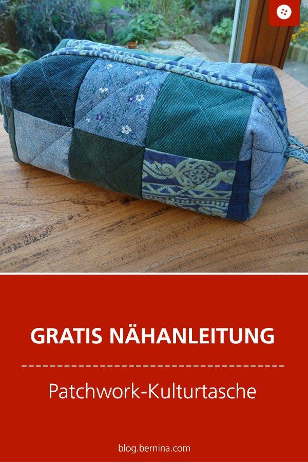 Kostenlose Nähanleitung: Kulturtasche / Kosmetiktasche im Patchwork-Stil nähen