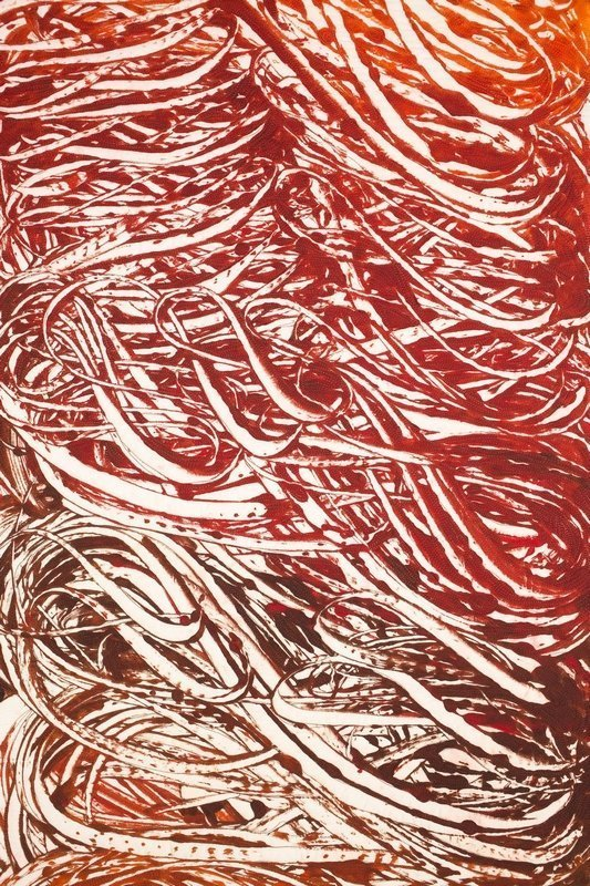 Nancy Crow: Mono-Print 24C, oranges reds, Detail Foto: J. Kevin-Fitzsimons kl