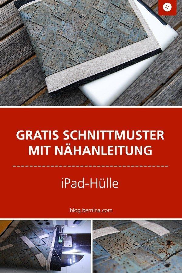 Kostenloses Schnittmuster mit Nähanleitung für eine iPad-Hülle aus Kork #schnittmuster #nähen #etui #hülle #cover #ipad #tablet #bernina #nähanleitung #diy #tutorial #freebie #freebook #kostenlos