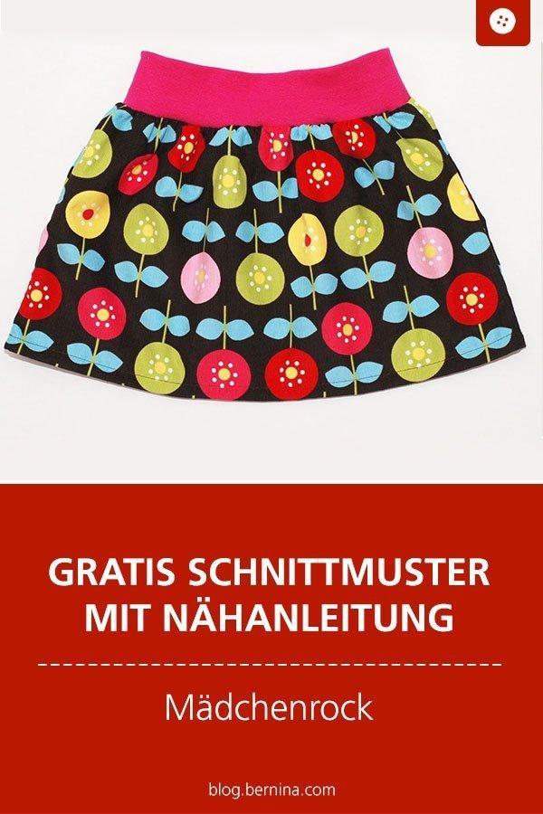 Kostenlose Nähanleitung für einen Mädchenrock mit Bündchen #rock #mädchen #kinder #kleidung #nähen #tutorial  #freebook #freebie #kostenlos #nähanleitung #diy #bernina