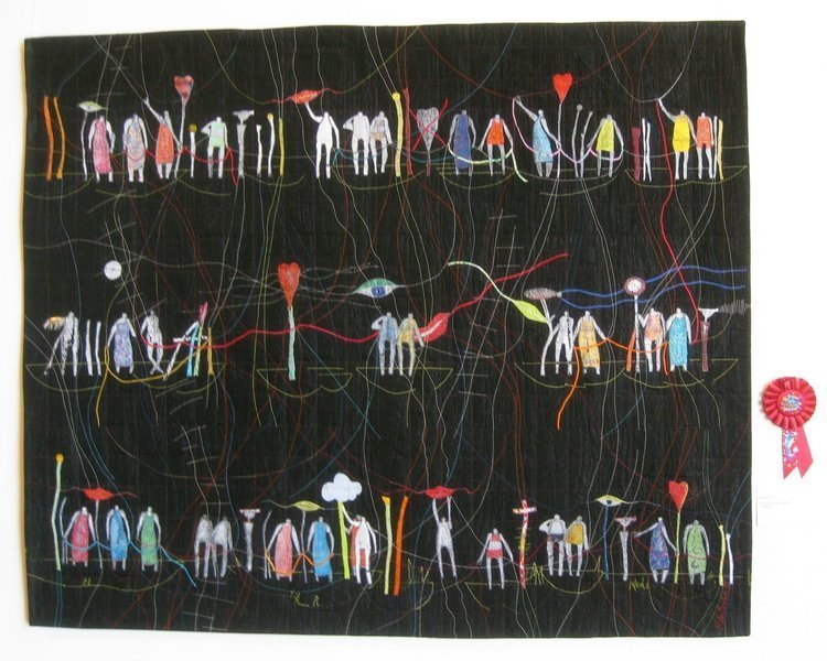 Rita Merten (CH): Threads meet people, 117 x 98 cm