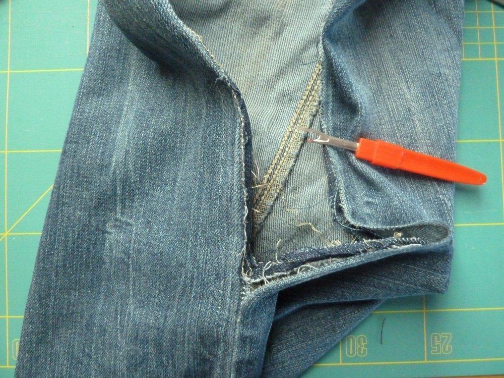 Jeansrecycling. jap. Knotentasche