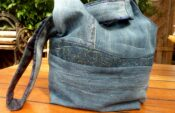 Jeansrecycling:jap.Knotentasche