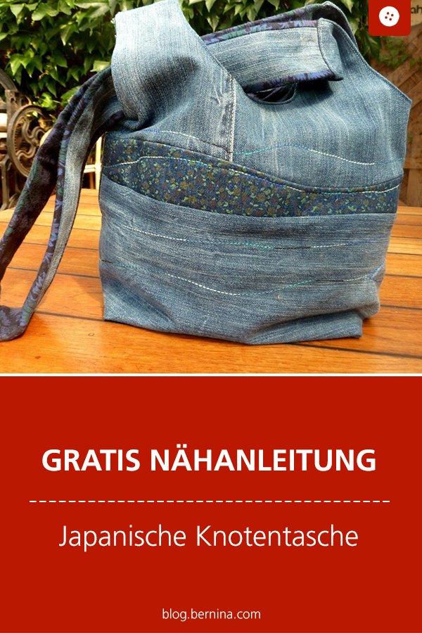 Gratis Schnittmuster mit Nähanleitung: Japanische Knotentasche Jeans-Upcycling