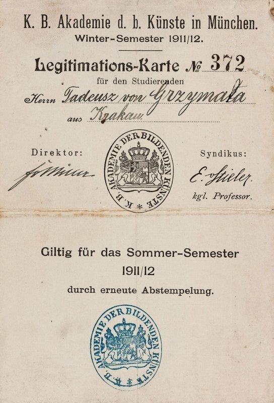 Legitimationskarte der Königlich Bayerischen Akademie der bildenden Künste von Zofia Lubańska-Grzymała, die hier im Sommersemester 1911/12 unter dem Namen ihres Bruders, Tadeusz von Grzymała, eingeschrieben ist. © Privatbesitz, Schweiz