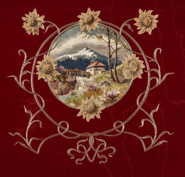 Darstellung einer Berglandschaft auf Seide, 1900-10 Foto: Linus Rieser