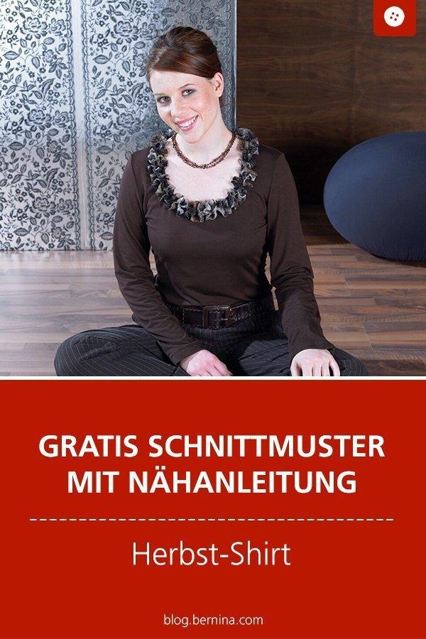Kostenloses Schnittmuster mit Nähanleitung für ein Herbst-Shirt für Frauen  #schnittmuster #nähen #shirt #longsleeve #oberteil #damen #frauen #bernina #nähanleitung #diy #tutorial #freebie #freebook #kostenlos