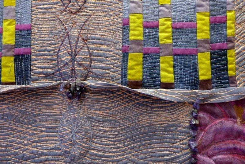 Pia Welsch (D): Shakuhachi-Flöte: Kimono 6, Detail Ausstellung der Network Quilters ' Musik trifft Stoff - von Bach bis Techno'
