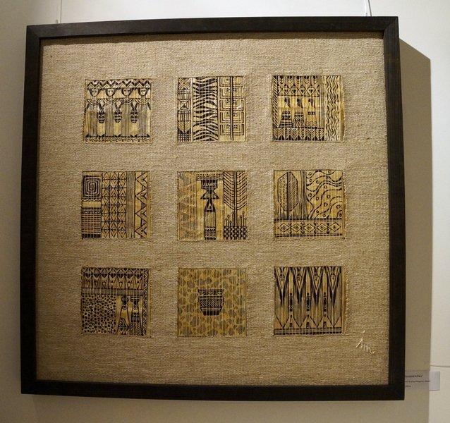 Sinnbild Afrika Hanf, Acryl auf Pergamin, Mischtechnik 91 x 91 cm