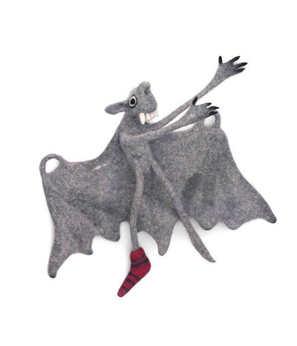 Wetzel, Susanne: Fledermaus mit Flughilfe Nahtlos gefilzt, Schafwolle Foto und Illustration: Wetzel, Karl- Konrad