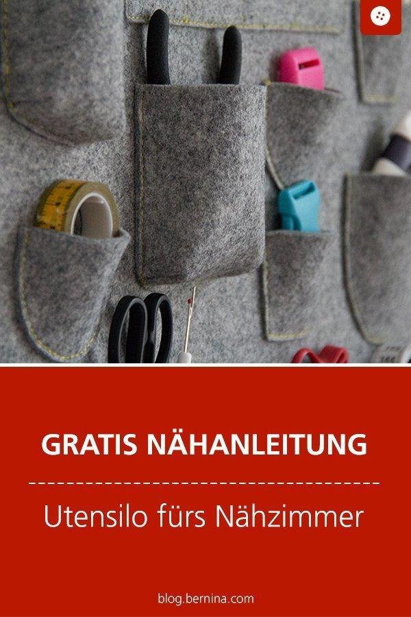 Kostenlose Nähanleitung für ein Utensilo #utensilo #filz ordnung #deko #freebie #nähen #nähanleitung #diy #tutorial #nähzimmer #atelier #bernina