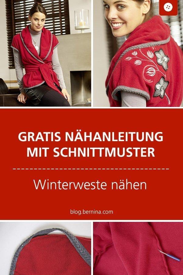 Kostenloses Schnittmuster mit Nähanleitung für warme Winterweste #weste #walk #fleece #schnittmuster #winter #nähen #bernina #nähanleitung #diy #tutorial #freebie #freebook #kostenlos
