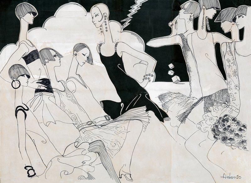 Antonio Lopez Flapper Frugs, 1965, veröffentlicht in The New York Times Mixed Media und Tuschfeder 85 x 61 cm © Courtesy of Estate of Antonio Lopez and Juan Ramos and Galerie Bartsch & Chariau