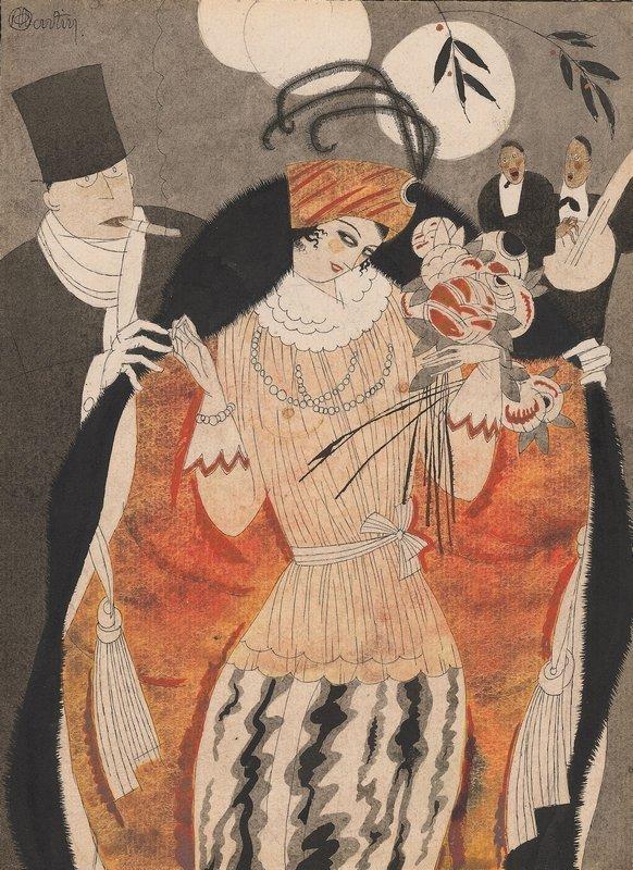 Charles Martin La Vie Chère, 1920, veröffentlicht in Fantasio Tuschfeder und Aquarell 22 x 16 cm © Charles Martin
