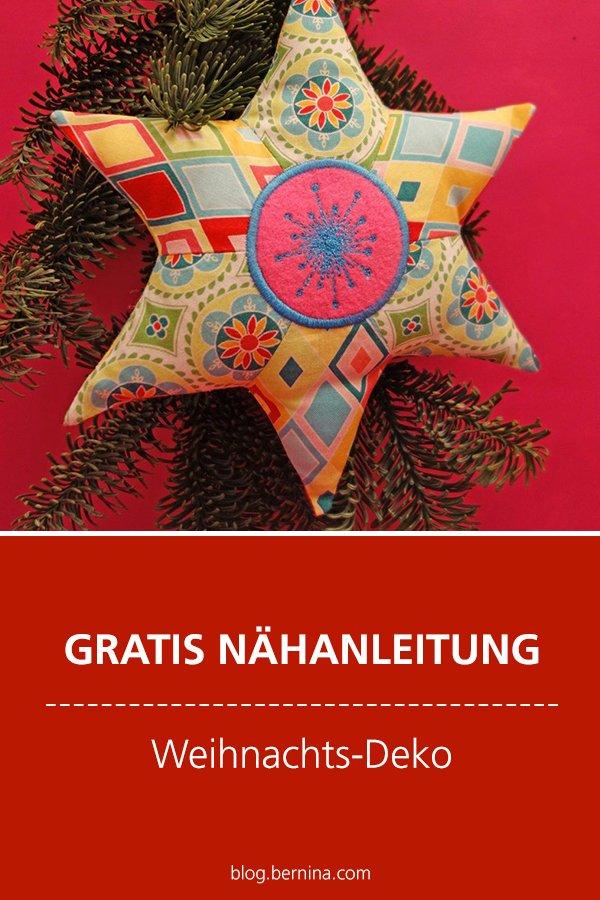 Kostenlose Nähanleitung: Weihnachts-Deko Stern