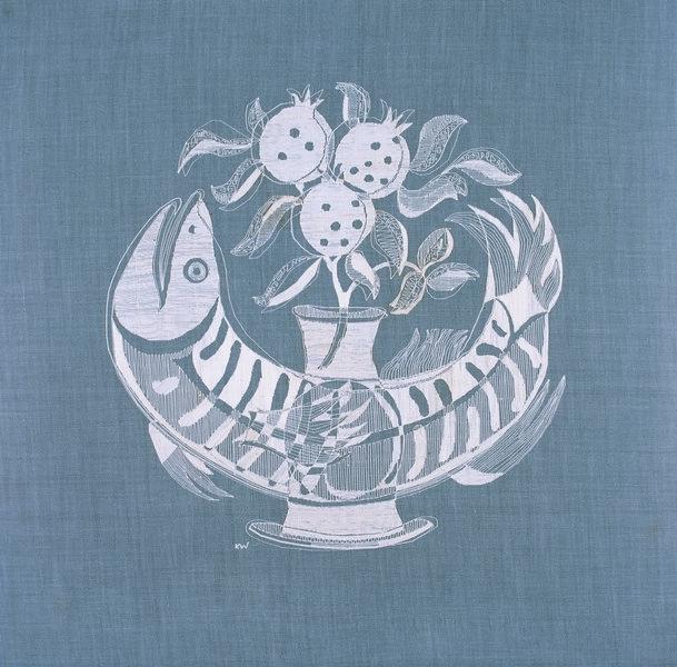 Karl Wollermann, Fischvase mit Granatäpfeln, 1969 Schattenstickerei, 34 x 34 cm Museum für Kunst und Kulturgeschichte Dortmund, Inv. Nr. C 6428 Foto: Madeleine-Annette Albrecht