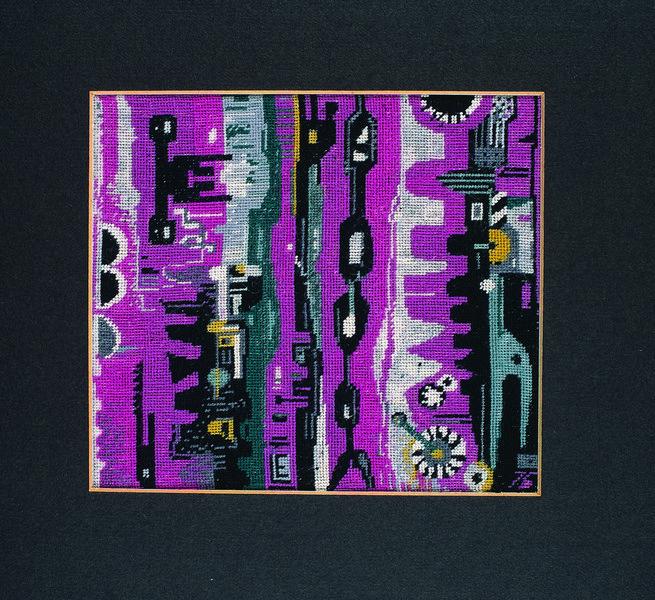 Liselotte Engelhardt, Technische Komposition, 1976 Petit-Point-Stickerei, 13,3 x 17,3 cm Museum für Kunst und Kulturgeschichte Dortmund, Inv. Nr. 2004/107 Foto: Madeleine-Annette Albrecht