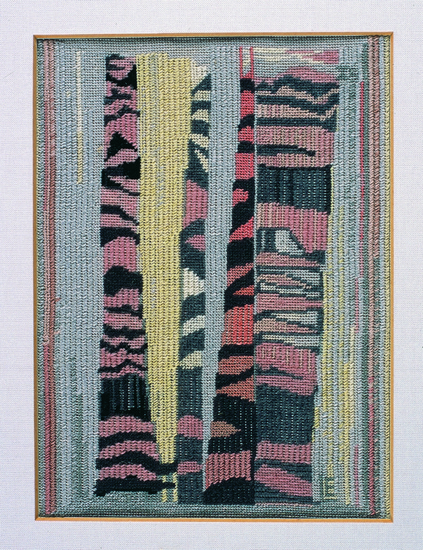 Liselotte Engelhardt, Gelber Pfeil, ohne Jahr Petit-Point-Stickerei, 12,5 x 13,2 cm Museum für Kunst und Kulturgeschichte Dortmund, Inv. Nr. 2004/106 Foto: Madeleine-Annette Albrecht