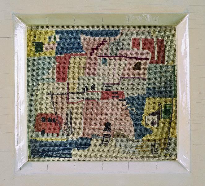 Liselotte Engelhardt, Ischia, 1958 Petit-Point-Stickerei, 12,5 x 13,2 cm Museum für Kunst und Kul-turgeschichte Dortmund, Inv. Nr. 2004/103 Foto: Madeleine-Annette Albrecht
