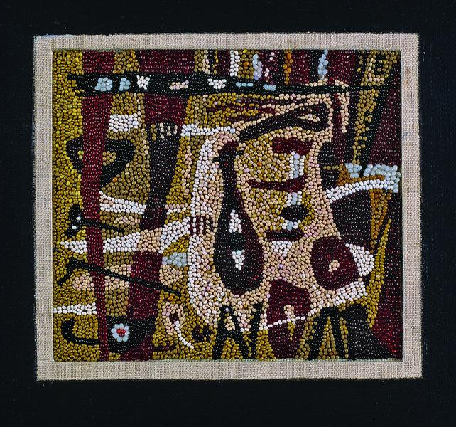 Liselotte Engelhardt, Dunkler Klang, 1964 Perlenstickerei, 12 x 13,5 cm Museum für Kunst und Kulturge-schichte Dortmund, Inv. Nr. 2004/113 Foto: Madeleine-Annette Albrecht