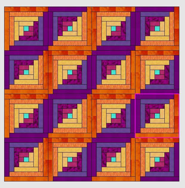 Logcabin-muster mit dem Quiltprogramm der V7g