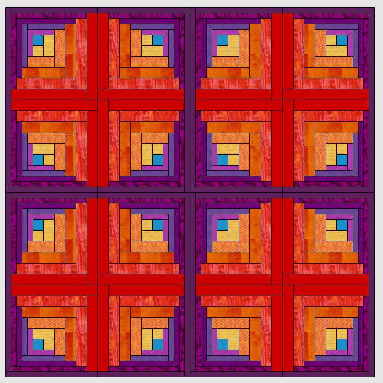 Logcabin-muster mit dem Quiltprogramm der V7