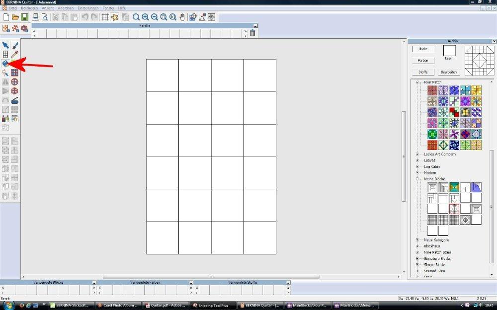 Im Quiltprogramm der V7 Muster entwerfen