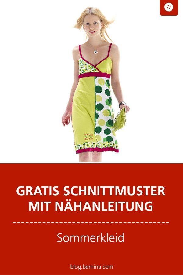 Kostenlose Nähanleitung mit Schnittmuster: Sommerkleid #schnittmuster #freebie #freebook #nähen #nähanleitung #nähenmachtglücklich #nähenfürfrauen #schnittmusterdamen #nähenfürmich #bernina #diy #kostenlos