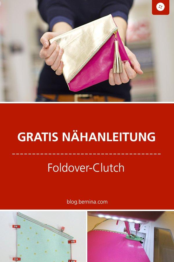 Kostenlose Nähanleitung für eine Foldover Clutch aus Leder #anleitung #clutch #tasche #handtasche #foldover #nähen #bernina #nähanleitung #diy #tutorial #freebie #freebook #kostenlos