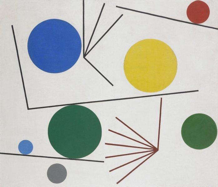 Sophie Taeuber-Arp Cercles et barres, 1934 Öl auf Leinwand 64 x 74 cm Aargauer Kunsthaus, Aarau / Anonyme Schenkung © Foto: Jörg Müller, Aarau