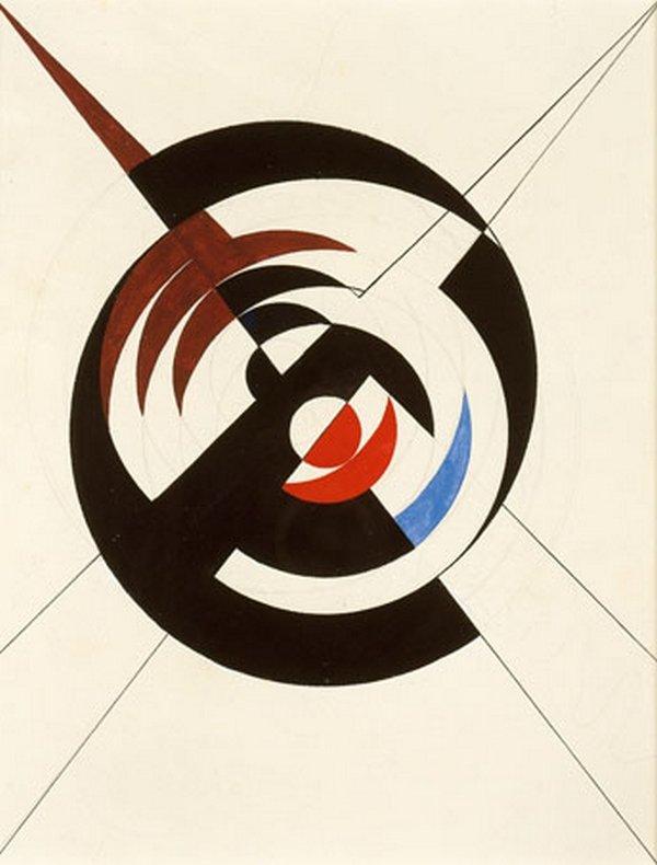 Sophie Taeuber-Arp Construction d'un cercle noir et segments bordeaux rouges et bleus, 1942 Tusche und Guache 35 x 27 cm Arp Museum Rolandseck © Foto: Mick Vincenz