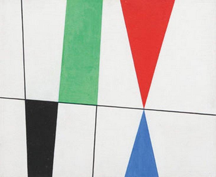 Sophie Taeuber-Arp Plans et triangles pointe sur pointe, 1931 Öl auf Karton 37,4 x 45,5 cm Arp Museum Bahnhof Rolandseck © Foto: Mick Vincenz