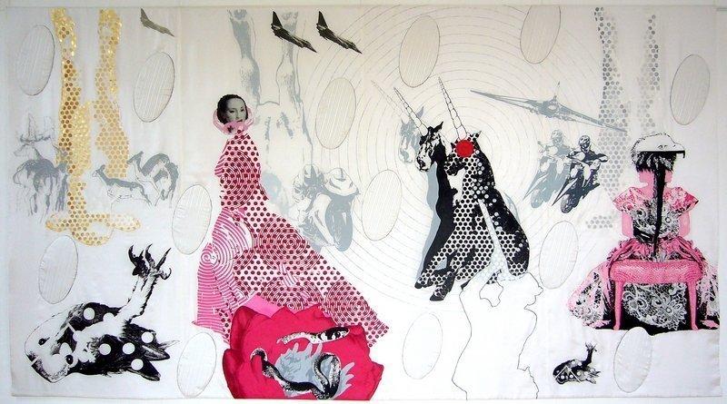 Konstanze Trommer (D): Jagd aus 'Aufbruch ins Paradies', 2010/11, 205 x 360 cm  Bildnachweis: QUILTKUNST e.V.