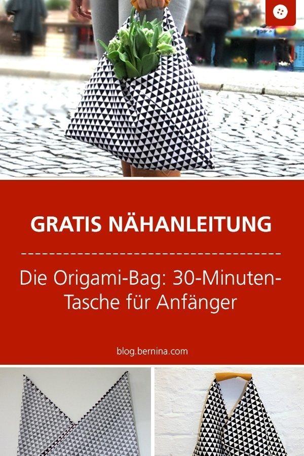 Kostenloses Schnittmuster und Nähanleitung für eine Origami-Bag: 30-Minuten-Tasche für Anfänger